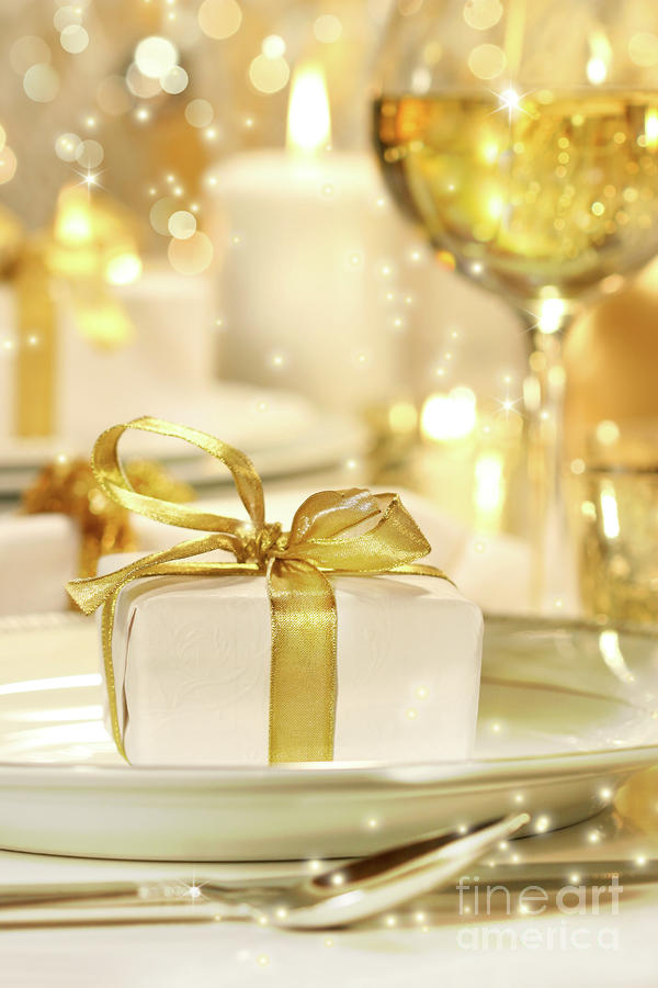 Little Gold Ribboned Gift Photograph  - Little Gold Ribboned Gift Fine Art Print