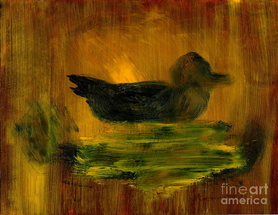 Little Green Mallard Sitting In The Water 4 Painting