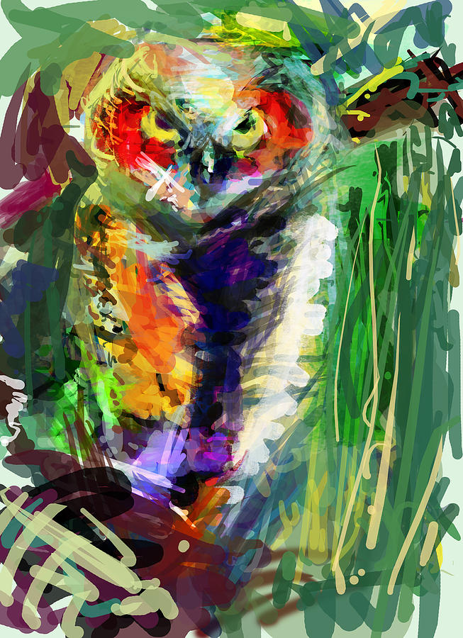 Little Owl But Big Digital Art  - Little Owl But Big Fine Art Print