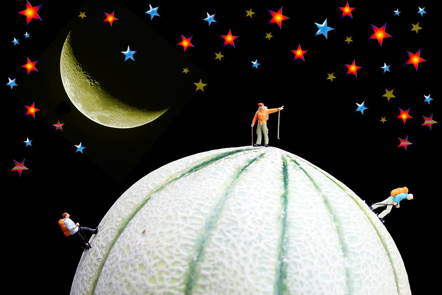 Little People Hiking On Fruits Under Starry Night Photograph