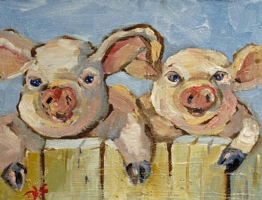 Little Pigs Painting  - Little Pigs Fine Art Print