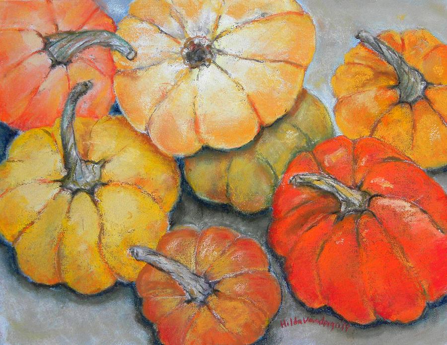 Pumpkins Painting - Little Pumpkins by Hilda Vandergriff
