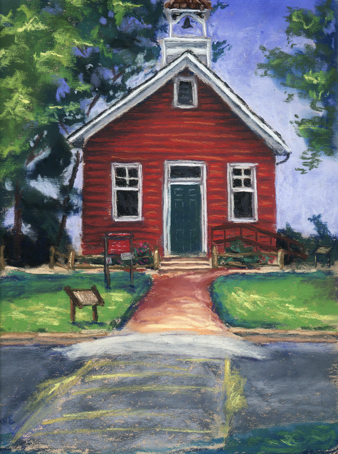 Little Red Schoolhouse Nature Center Pastel  - Little Red Schoolhouse Nature Center Fine Art Print