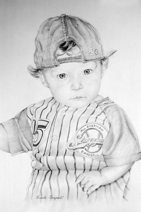Baby Baseball Player Drawing - Little Slugger by Frank Zampardi