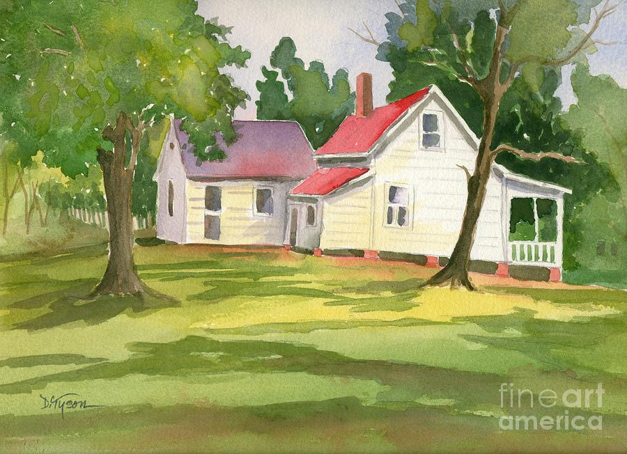 Little White Farmhouse Painting  - Little White Farmhouse Fine Art Print