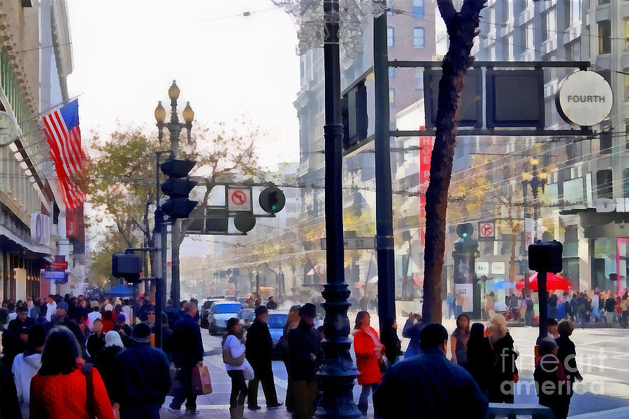 Lively Market Street In San Francisco . 7d4268 Photograph