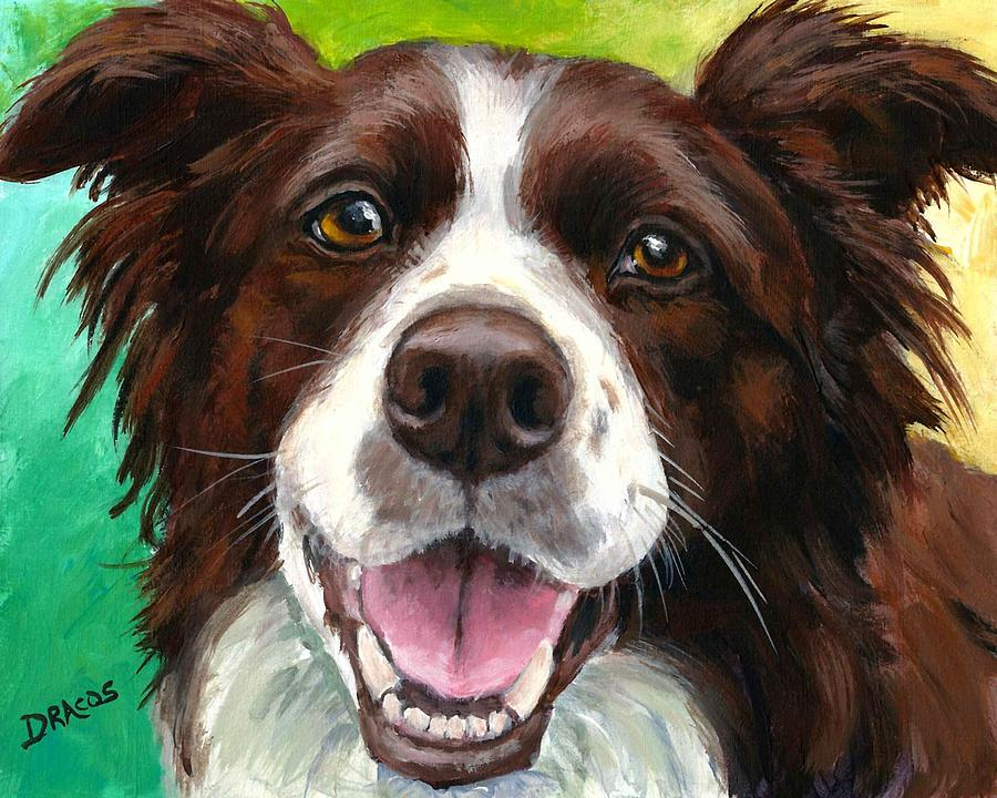 Liver And White Border Collie Painting  - Liver And White Border Collie Fine Art Print