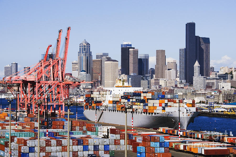Loaded Container Ship In Seattle Harbor Photograph