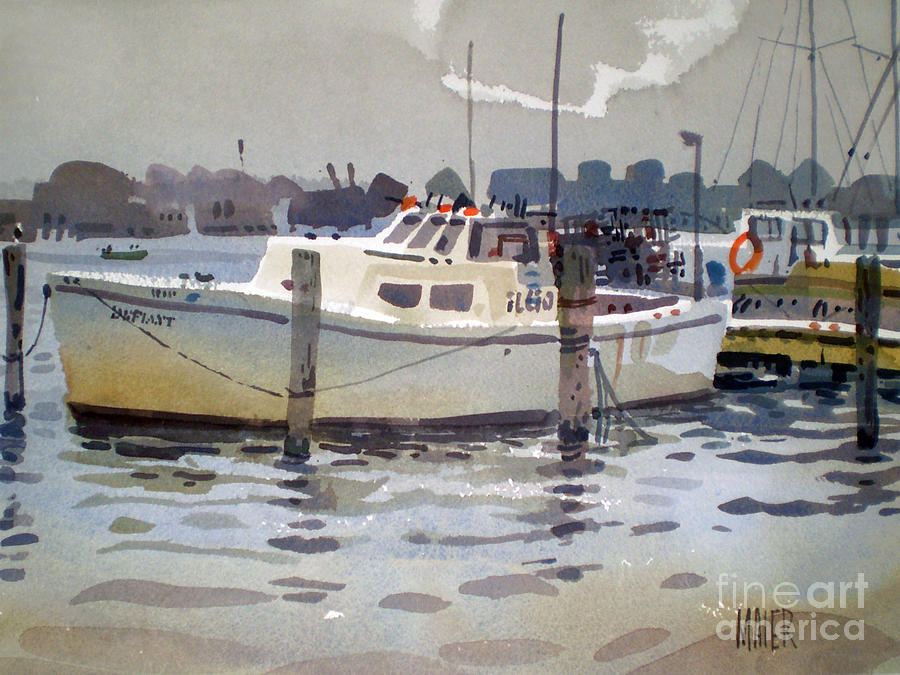 Lobster Boats In Shark River Painting  - Lobster Boats In Shark River Fine Art Print