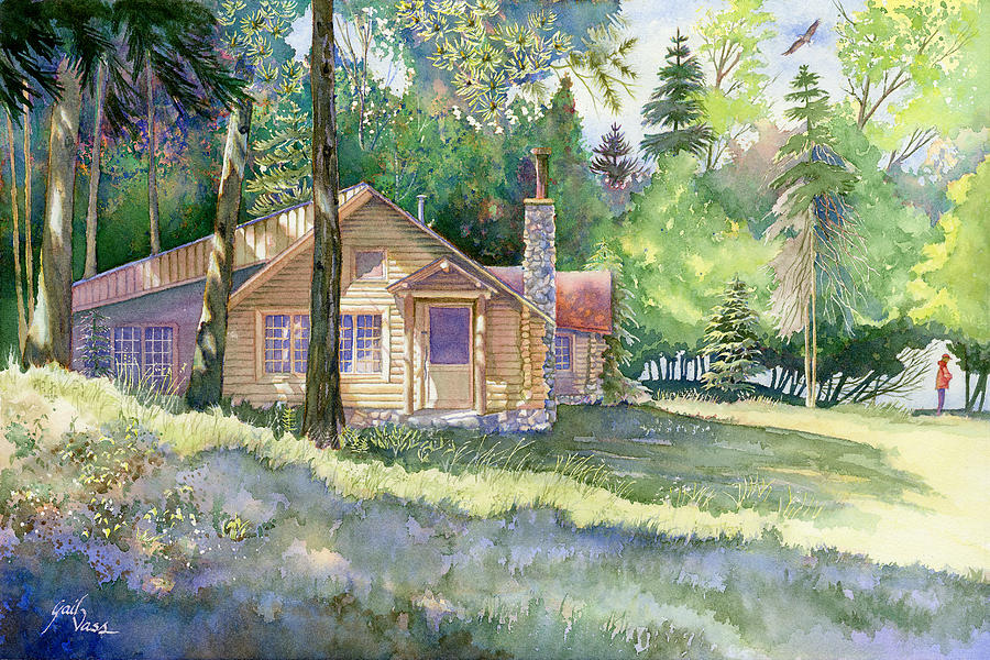 Log cabin by gail vass for Log cabin painting