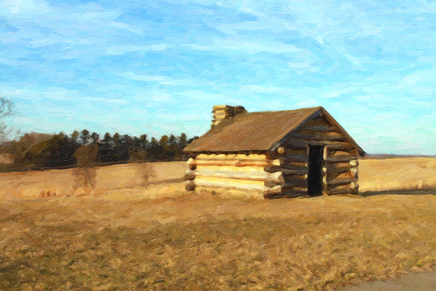 Log Cabin Oil Painting Painting By Don Valentine