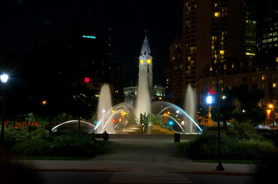Fountain Photograph - Logan Circle Fountain With City Hall At Night by Bill Cannon