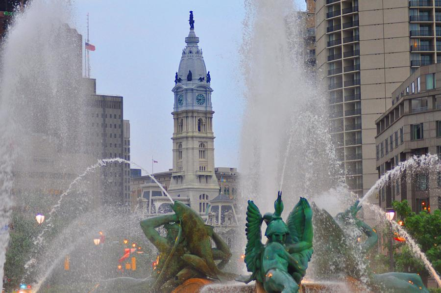 Logan Circle Fountain With City Hall In Backround 2 Photograph