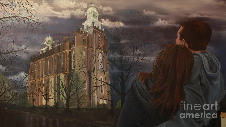 Logan Temple Engagement Painting  - Logan Temple Engagement Fine Art Print