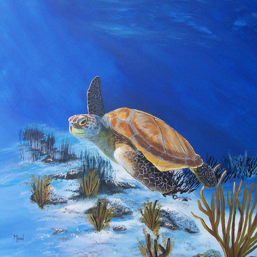 Loggerhead Sea Turtle Painting  - Loggerhead Sea Turtle Fine Art Print