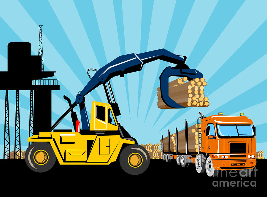 Logging Truck Digital Art  - Logging Truck Fine Art Print