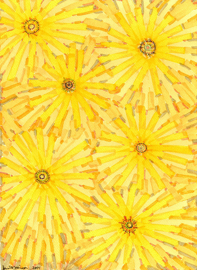 Loire Sunflowers One Drawing  - Loire Sunflowers One Fine Art Print