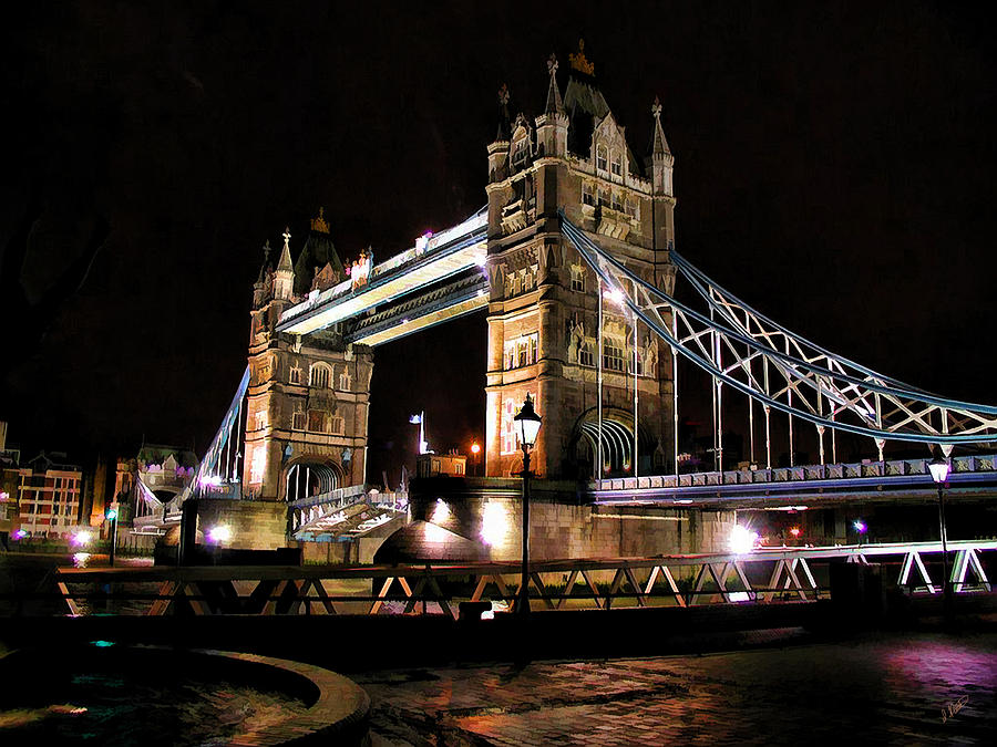 London Bridge At Night Painting
