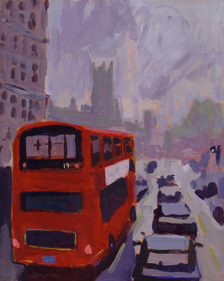 London Bus Number 19 Painting  - London Bus Number 19 Fine Art Print