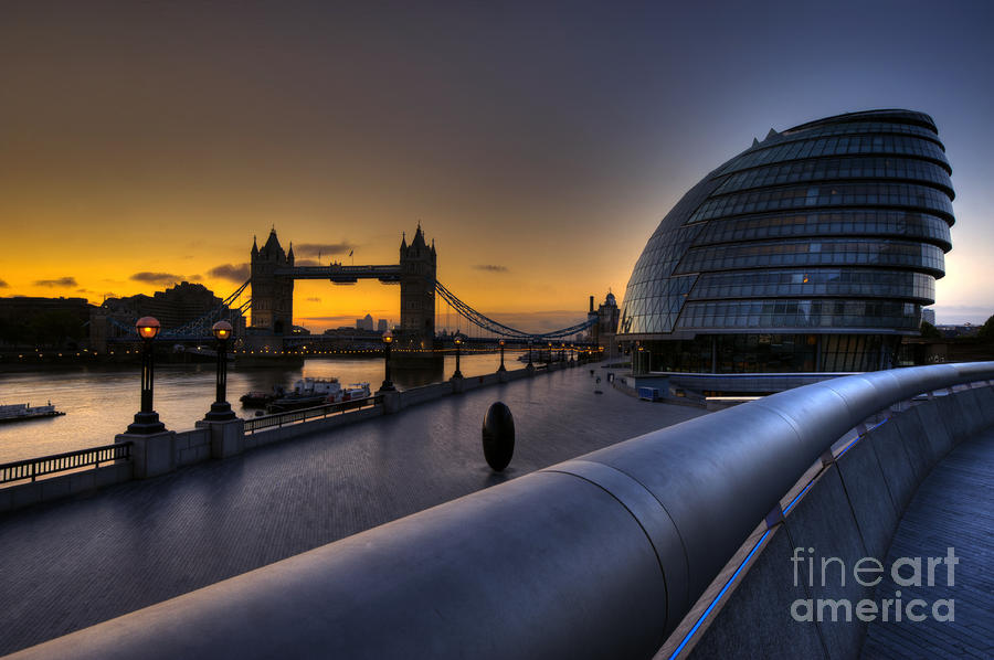 London City Hall Sunrise Photograph  - London City Hall Sunrise Fine Art Print