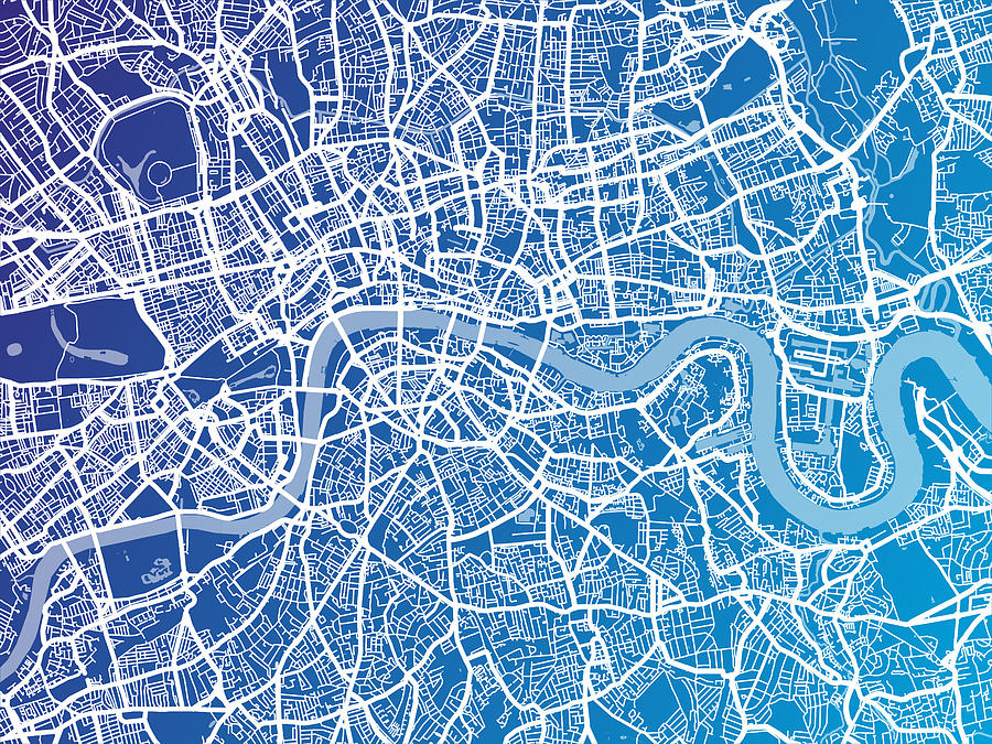 London Digital Art - London England Street Map by Michael Tompsett