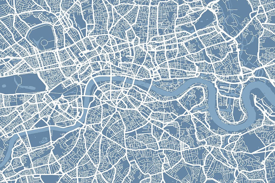 London Map Art Steel Blue Digital Art  - London Map Art Steel Blue Fine Art Print