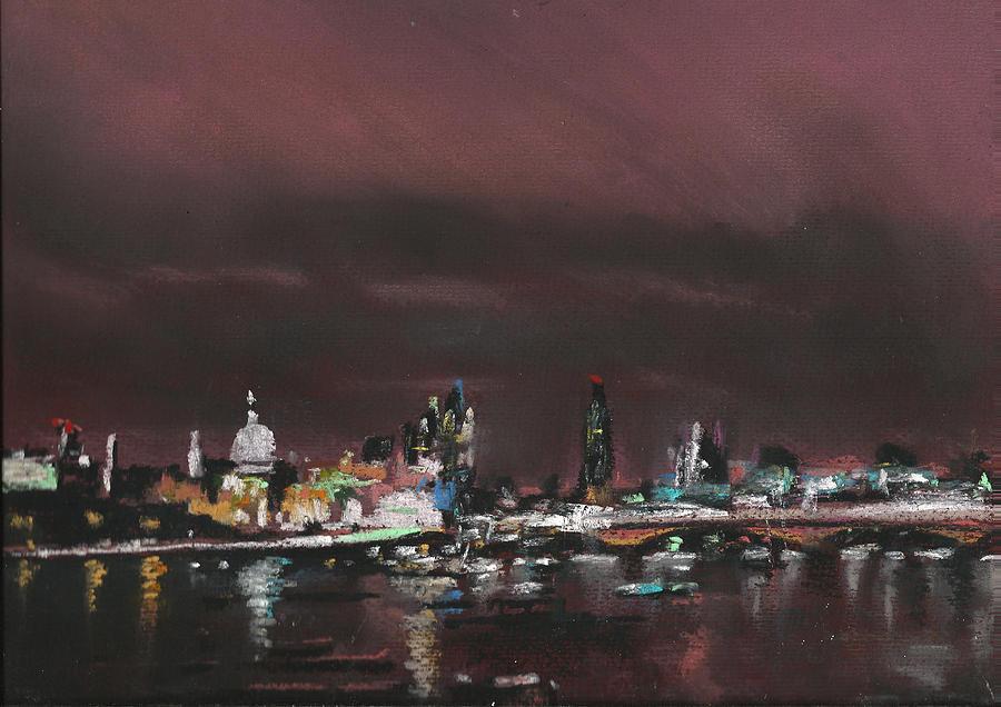 London Night Skyline 1 Pastel