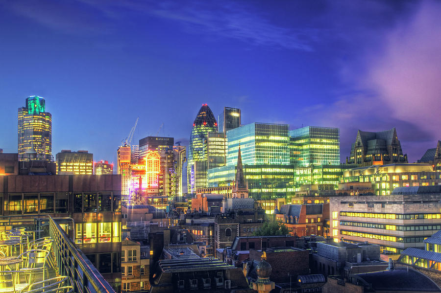 Horizontal Photograph - London Skyline At Night by Gregory Warran