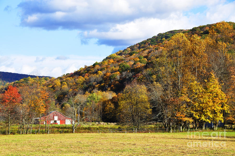 Lone Barn Fall Color Photograph  - Lone Barn Fall Color Fine Art Print