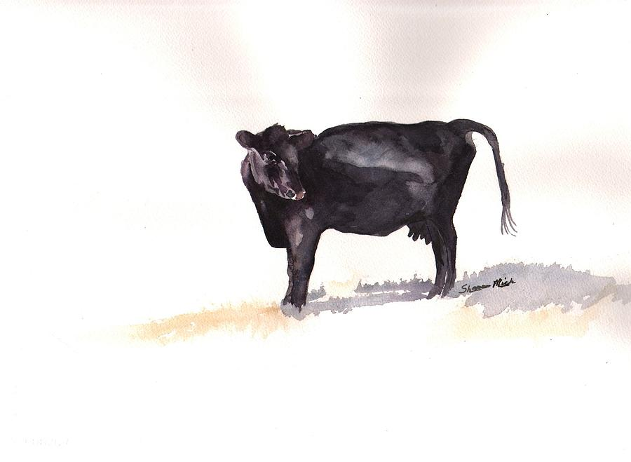 Lone Black Angus Painting  - Lone Black Angus Fine Art Print