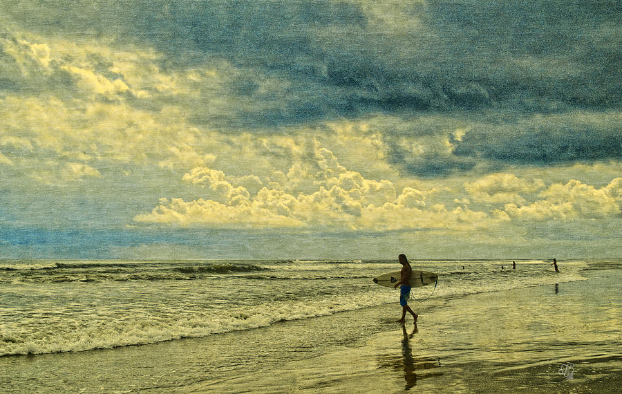 Clouds Photograph - Lone Surfer by Barbara Middleton