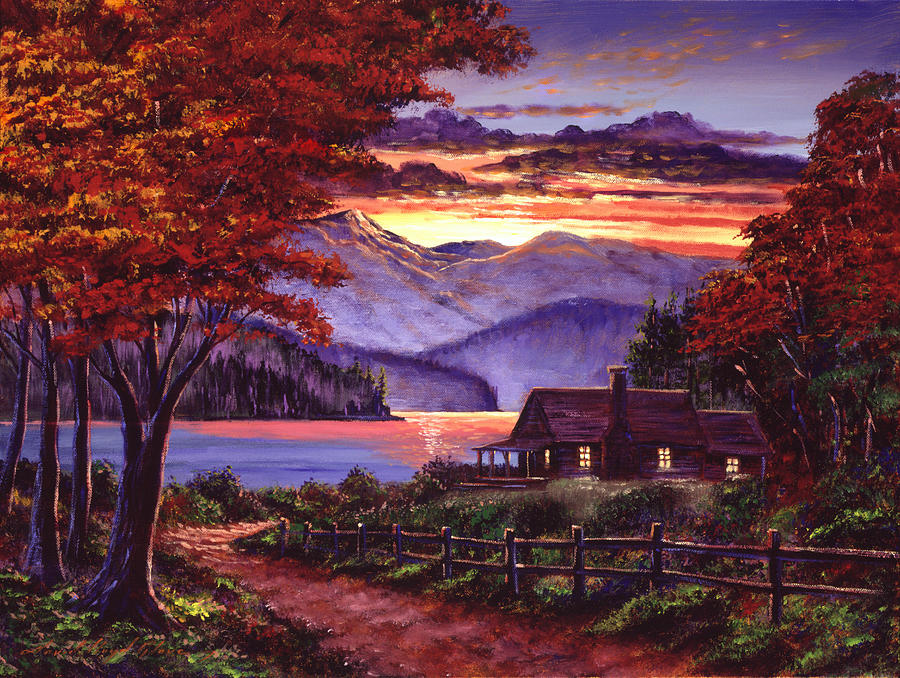 Lonely cabin painting by david lloyd glover for Log cabin painting