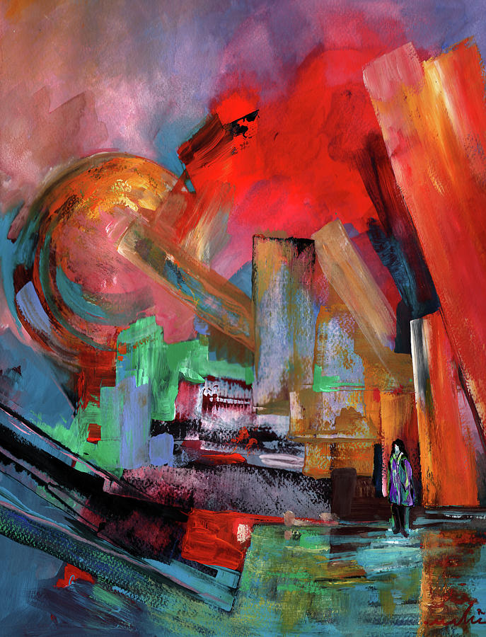 Abstractions Painting - Lonely In The Big City by Miki De Goodaboom