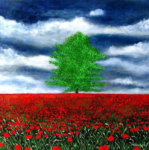 Lonely Tree Amongst Zillions Of Poppies Painting