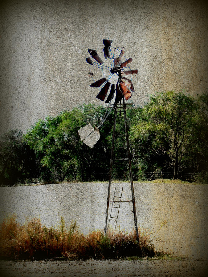 Lonely Windmill Mixed Media  - Lonely Windmill Fine Art Print