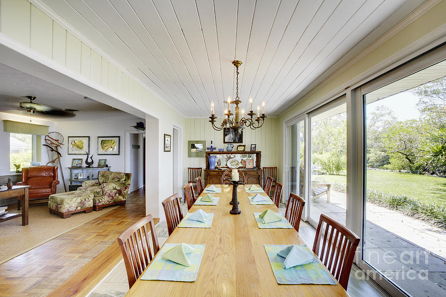 long dining room table photograph by skip nall