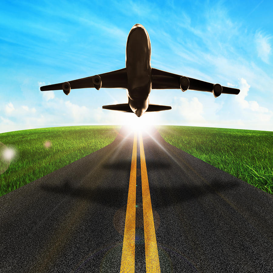 Long Road And Plane Photograph  - Long Road And Plane Fine Art Print