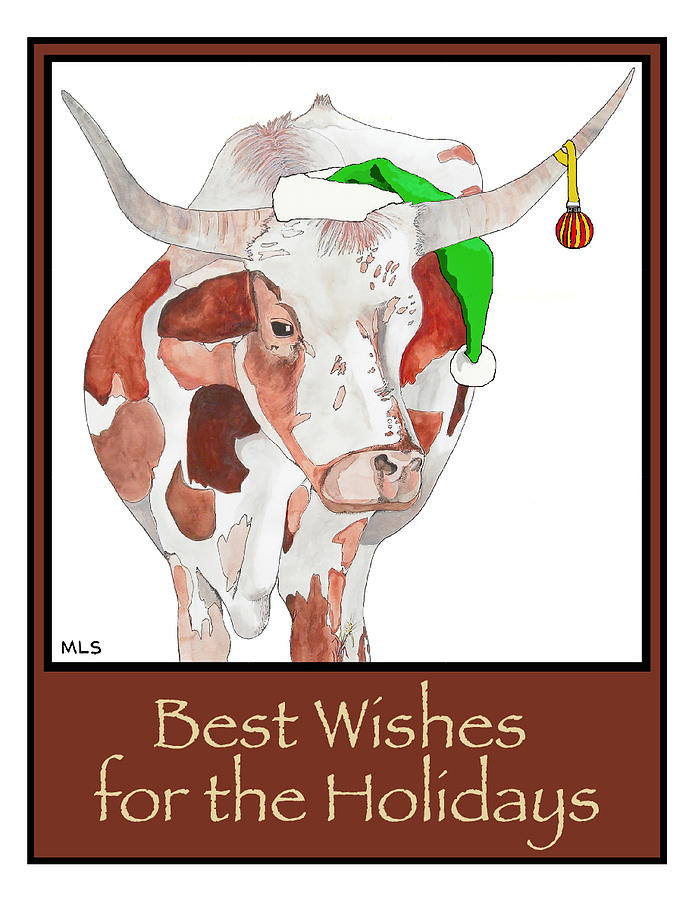 Longhorn Christmas Painting