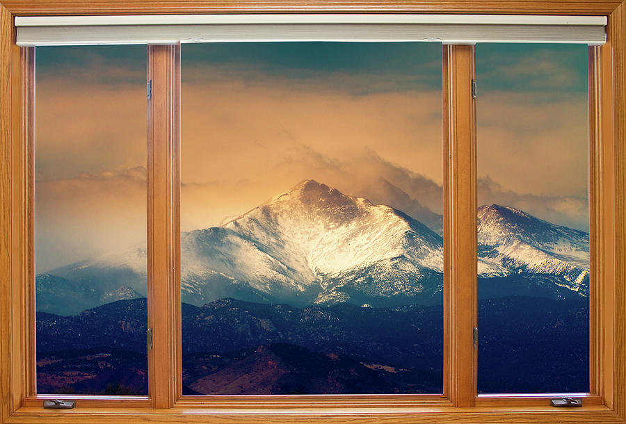 Longs Peak And Mount Meeker Wood Window View Photograph