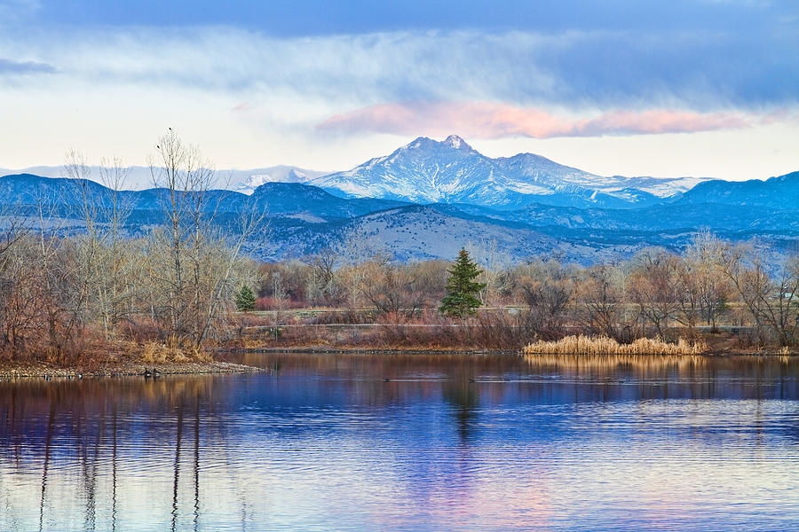 Longs Peak And Mt Meeker Sunrise At Golden Ponds Photograph