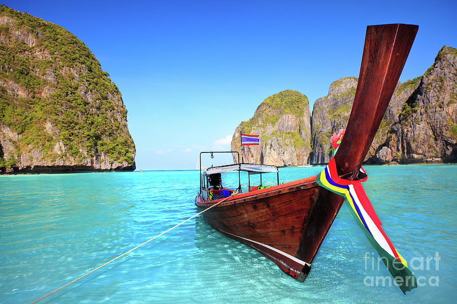 Longtail Boat At Maya Bay Photograph  - Longtail Boat At Maya Bay Fine Art Print
