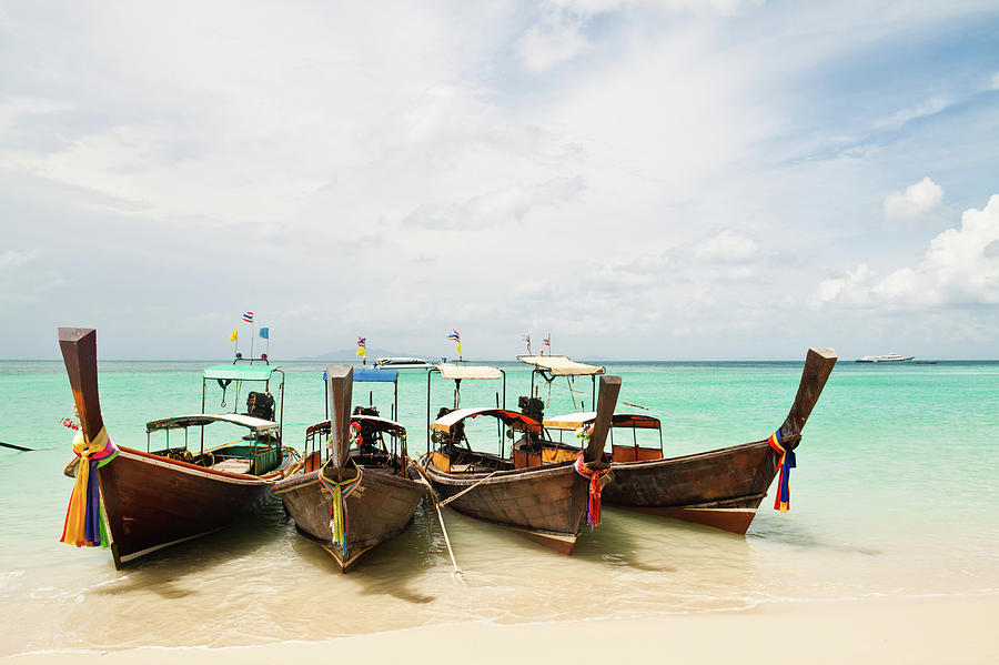 Horizontal Photograph - Longtail Boats At Phi Phi Island, Thailand by Melissa Tse