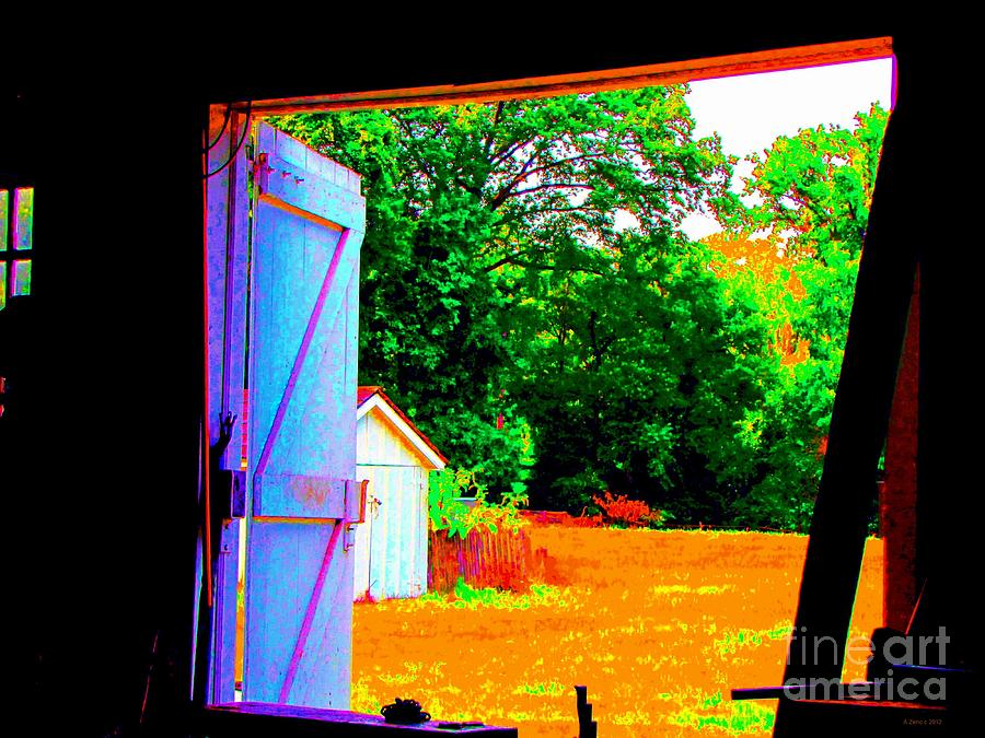 Looking Out The Barn Door Photograph