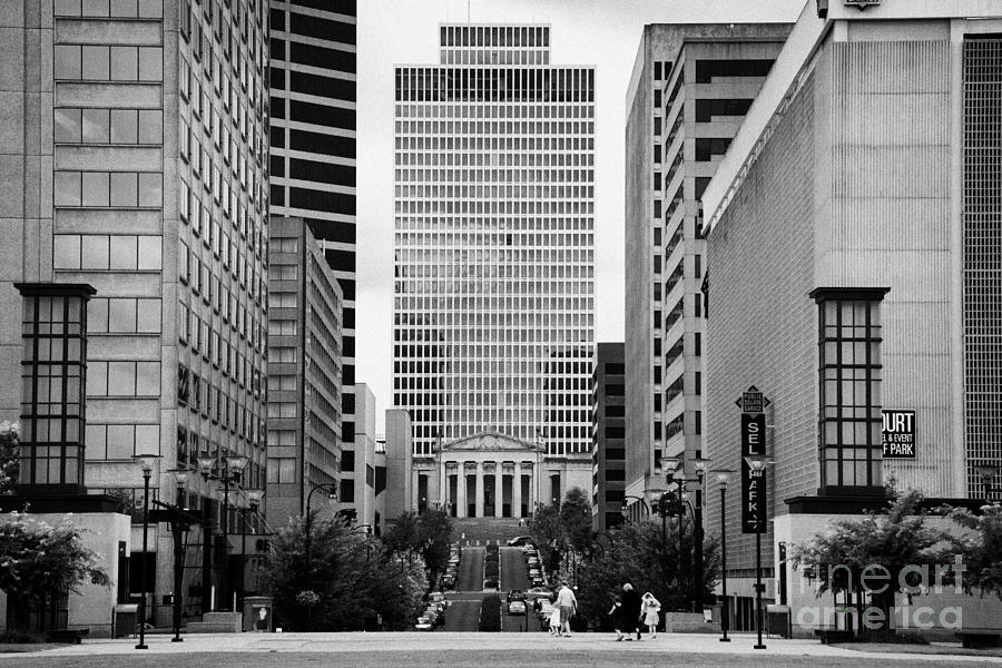 Looking Up Deaderick Street Towards War Memorial Plaza And The William Snodgrass Tennessee Tower Photograph  - Looking Up Deaderick Street Towards War Memorial Plaza And The William Snodgrass Tennessee Tower Fine Art Print