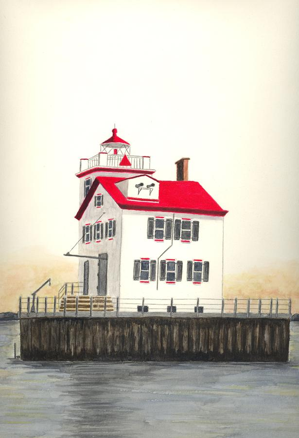Lorain Lighthouse Painting  - Lorain Lighthouse Fine Art Print