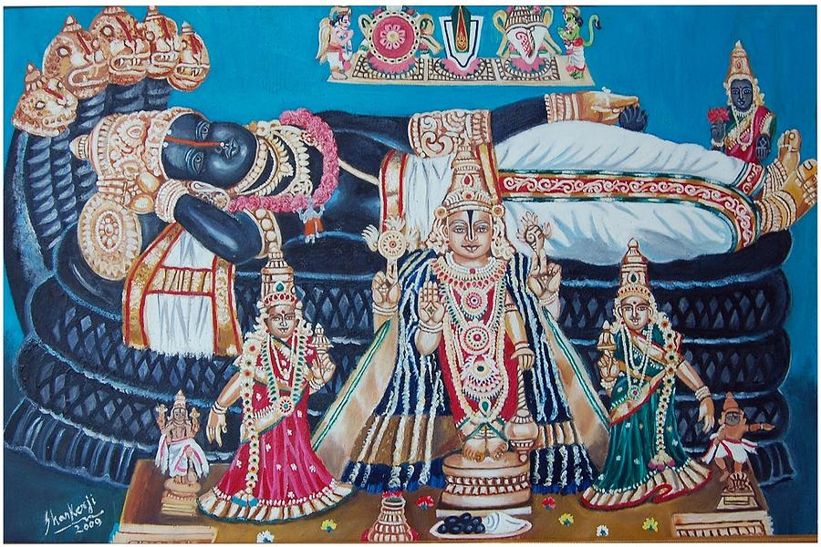 Lord Ranganathar In Recling Position Painting  - Lord Ranganathar In Recling Position Fine Art Print