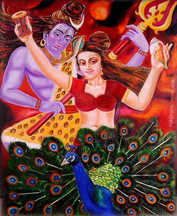 Shiva Painting - Lord Shiva-parvati Dancing by Nirendra Sawan