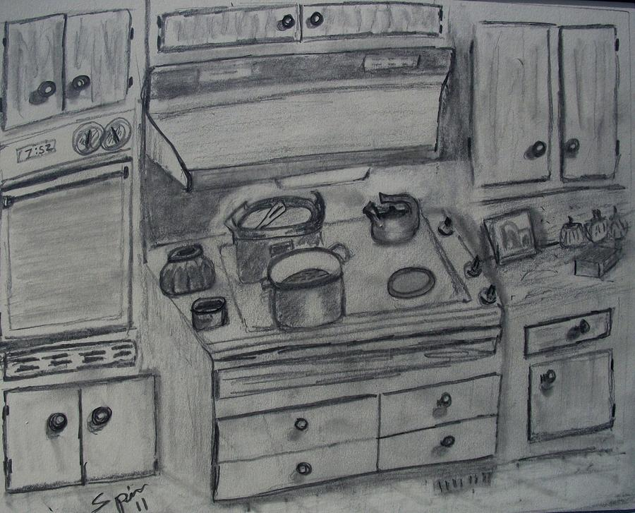 Loris Kitchen Drawing  - Loris Kitchen Fine Art Print
