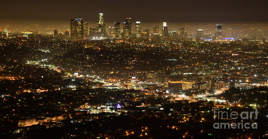 Los Angeles City View At Night Photograph By Bob Christopher