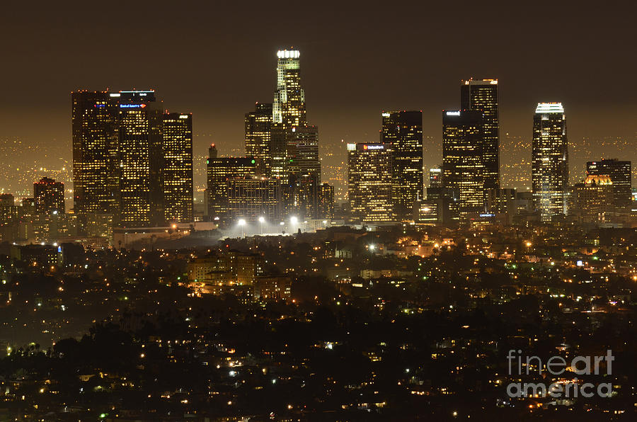Los Angeles Photograph - Los Angeles Skyline At Night by Bob Christopher